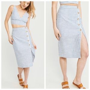 NWT A&F Button-Up Linen Midi Skirt